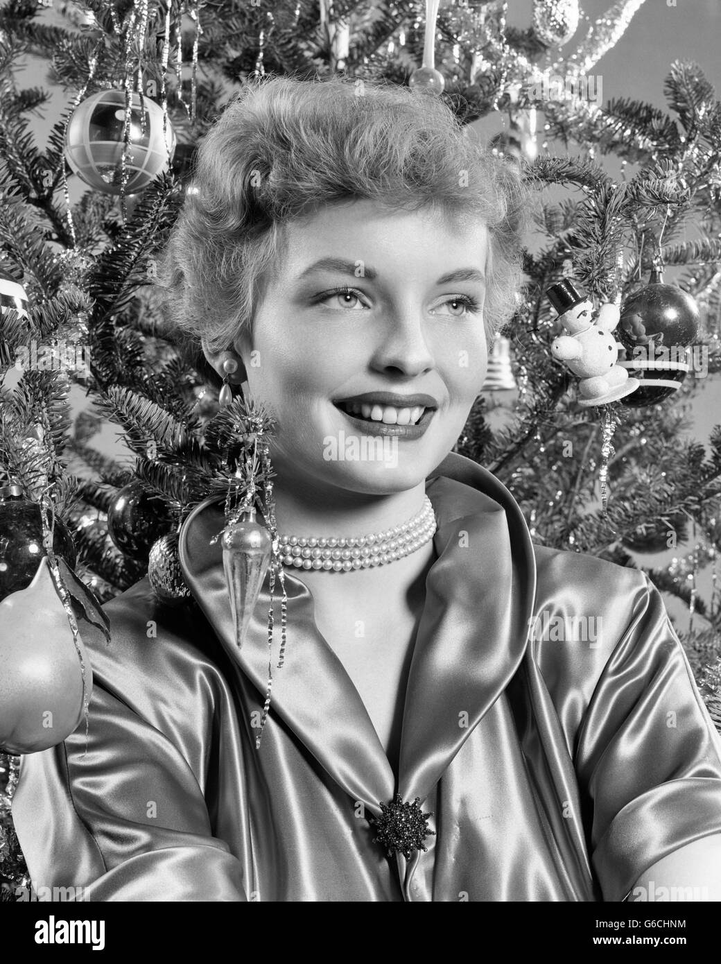 1940s 1950s Portrait Smiling Woman With Christmas Tree