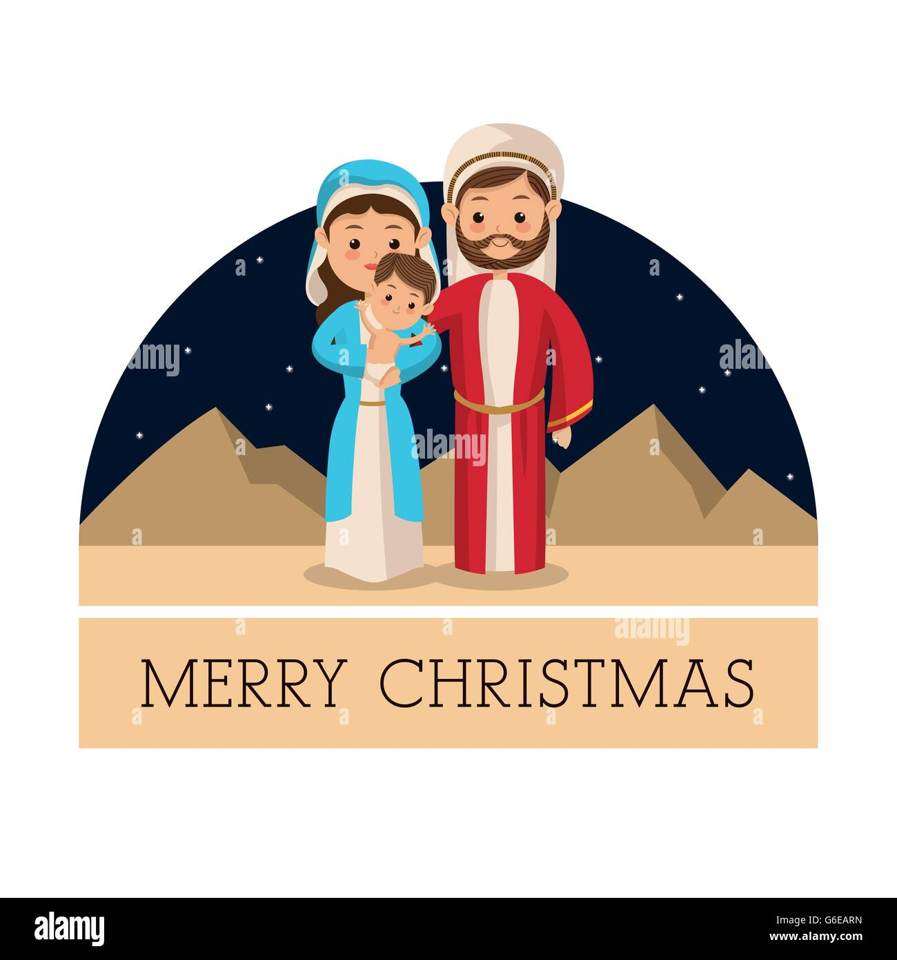 holy family icon merry christmas design vector graphic stock