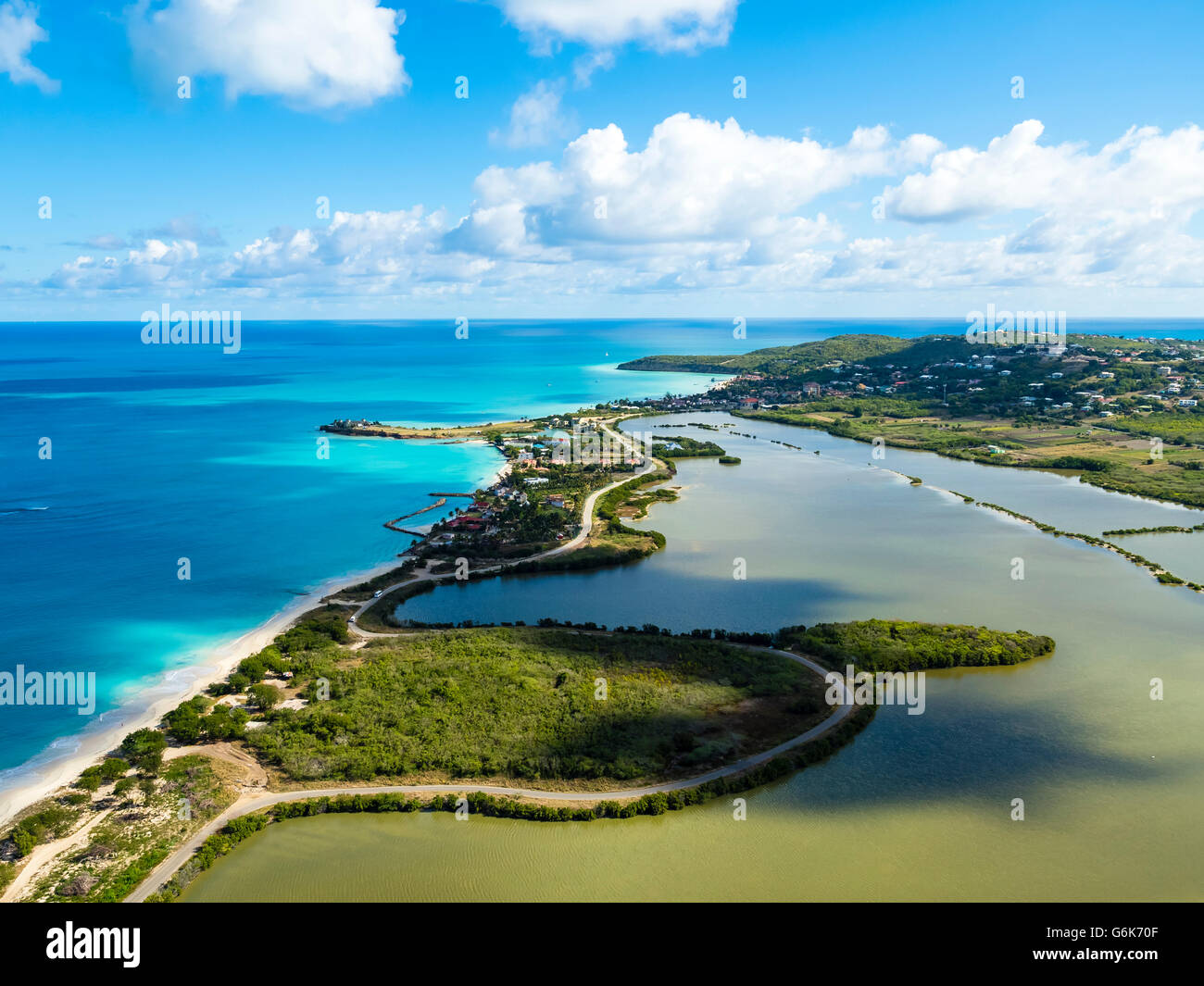West Indies, Antigua and Barbuda, Antigua, aerial view, Five ...