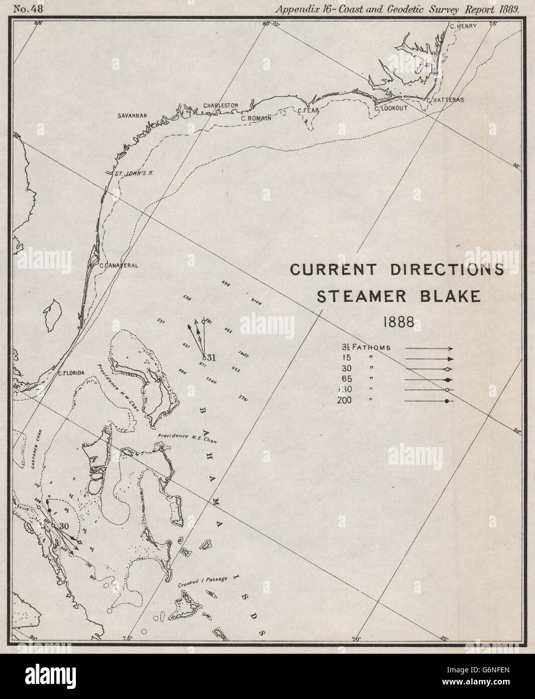 USA BAHAMAS Ocean Current Directions Gulf Stream USCGS - Map usa bahamas