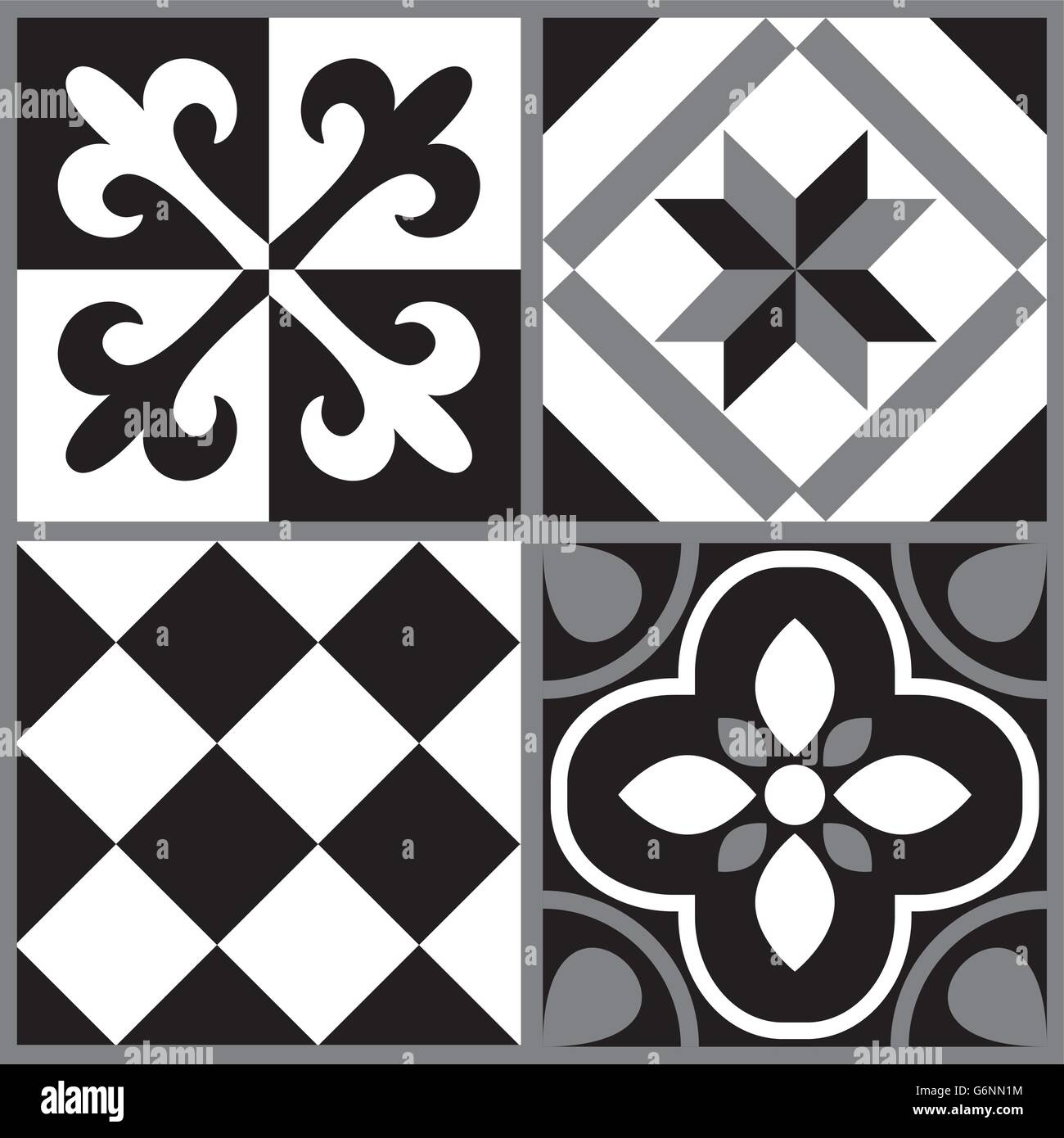 Black and white cement tile background design stock vector for White cement tiles