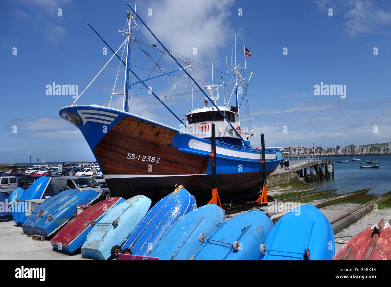 Tuna fishing boat vessel ship in dry dock in hondarribia for Tuna fishing boat