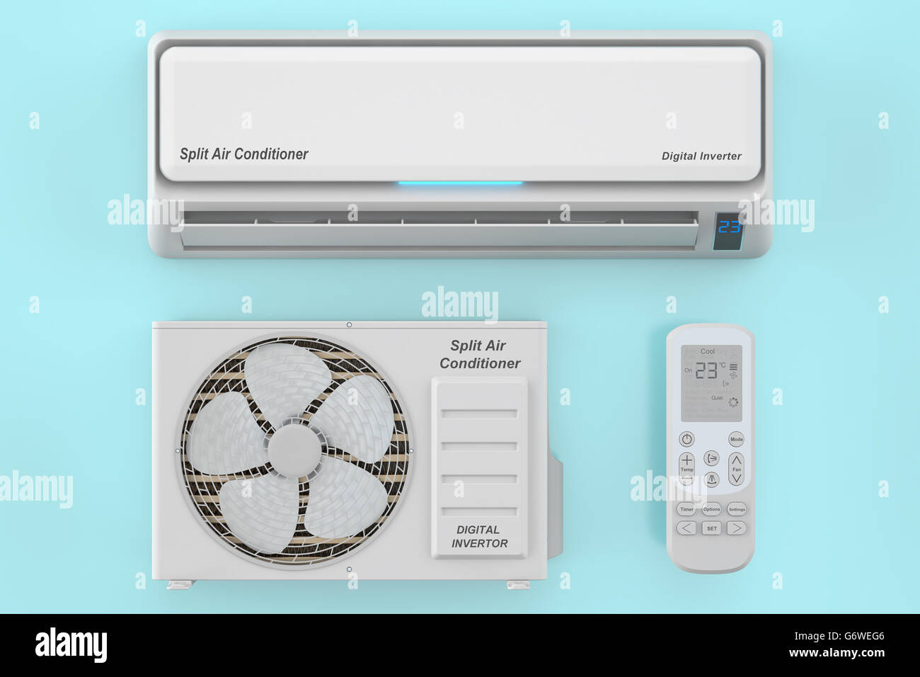 Modern Air Conditioner System With Unit And Remote Control, 3D Rendering