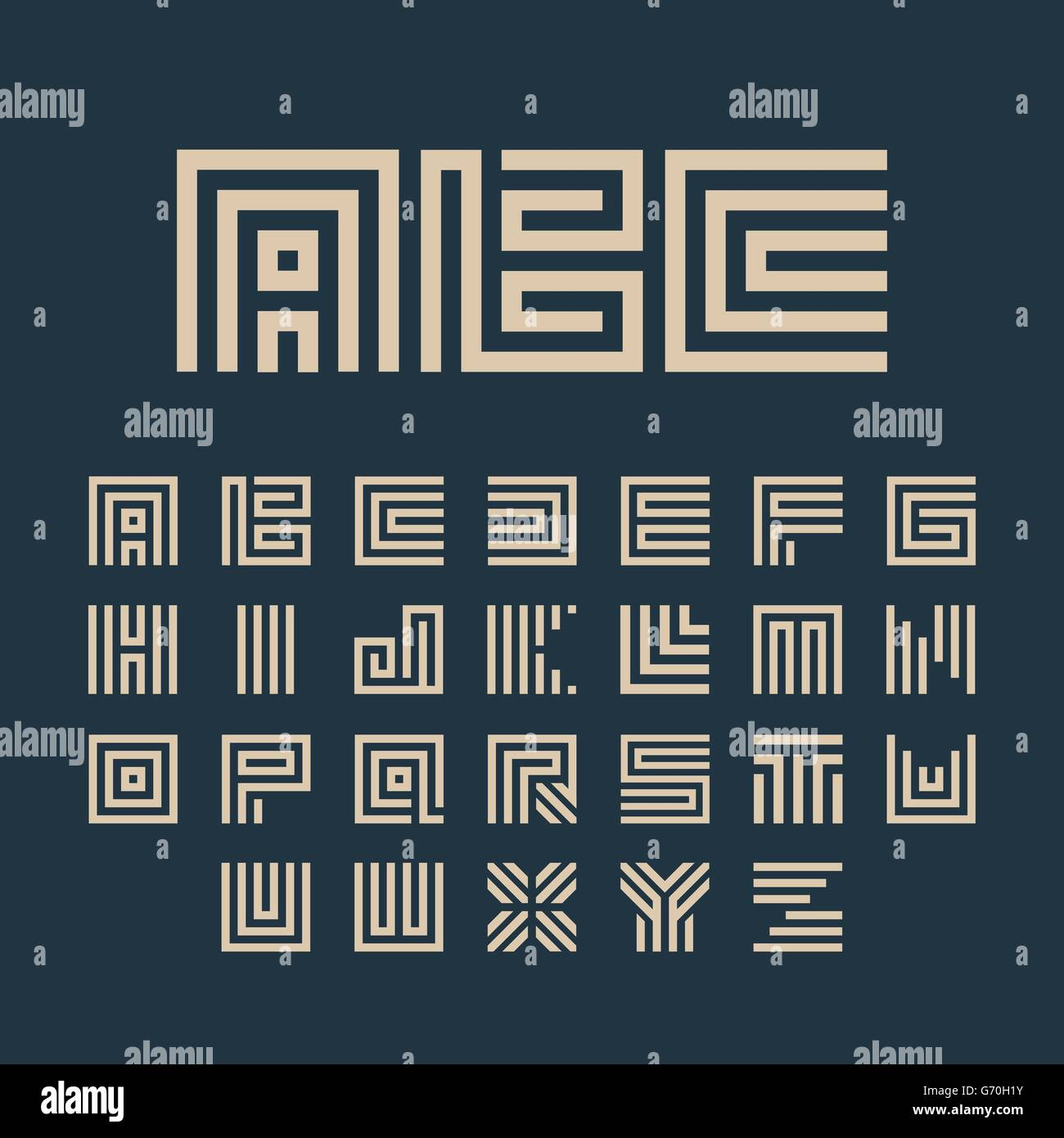 geometric vector white color alphabet letters set monogram symbols collection on the dark blue background
