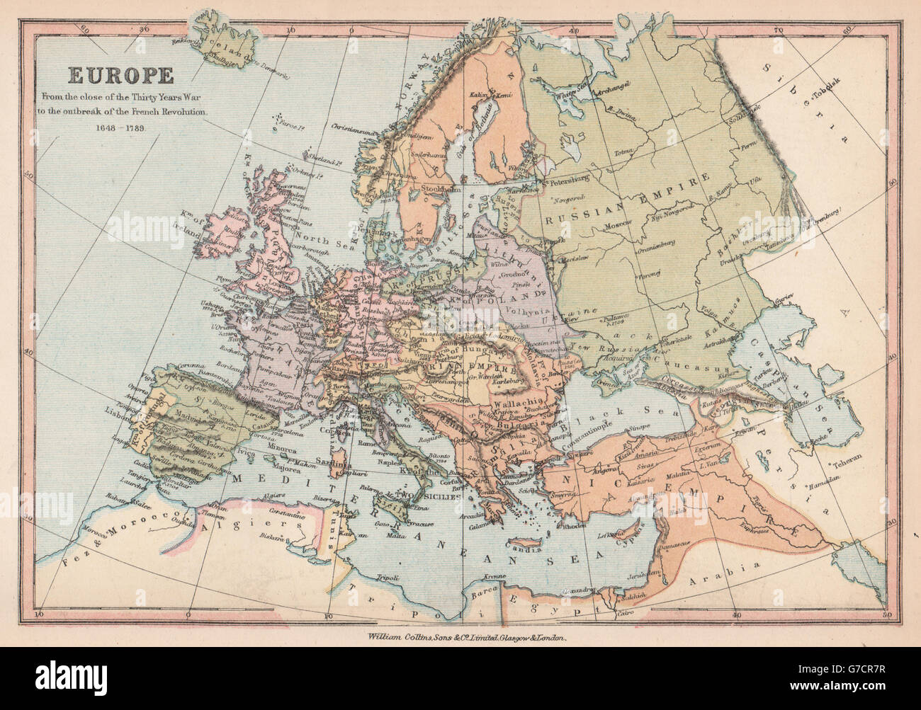 EUROPE End Of The Thirty Years War To The French Stock - 1789 map of us