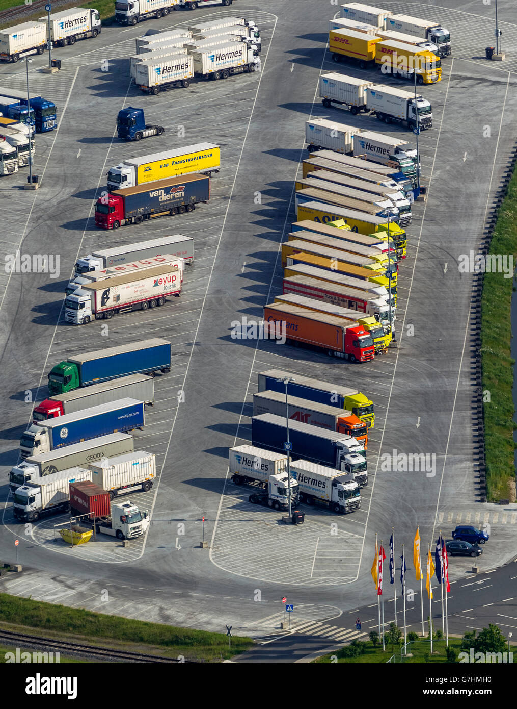 aerial view ikea logistics center with truck parking justintime