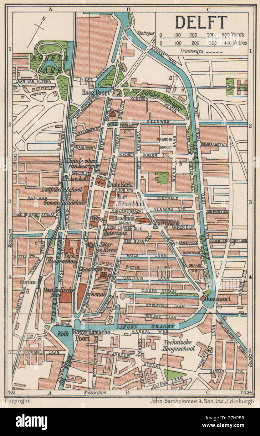 DELFT Vintage town city map plan Netherlands 1933 Stock Photo