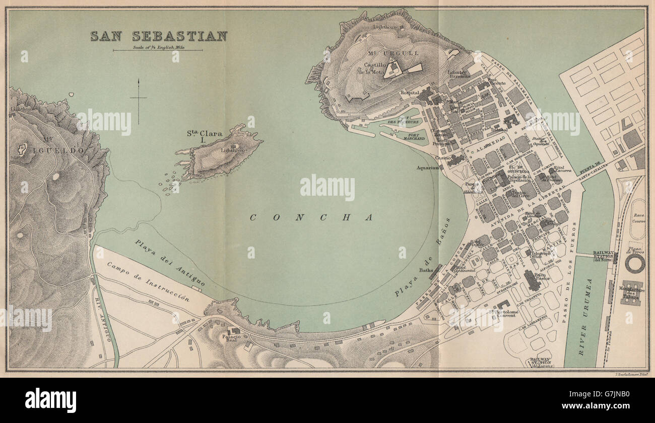 SAN SEBASTIAN. Vintage town city map plan. Spain, 1899 Stock Photo ...