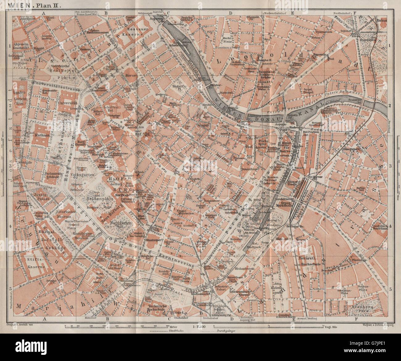 VIENNA city centre WIEN Burg Town plan stadtplan Austria Stock