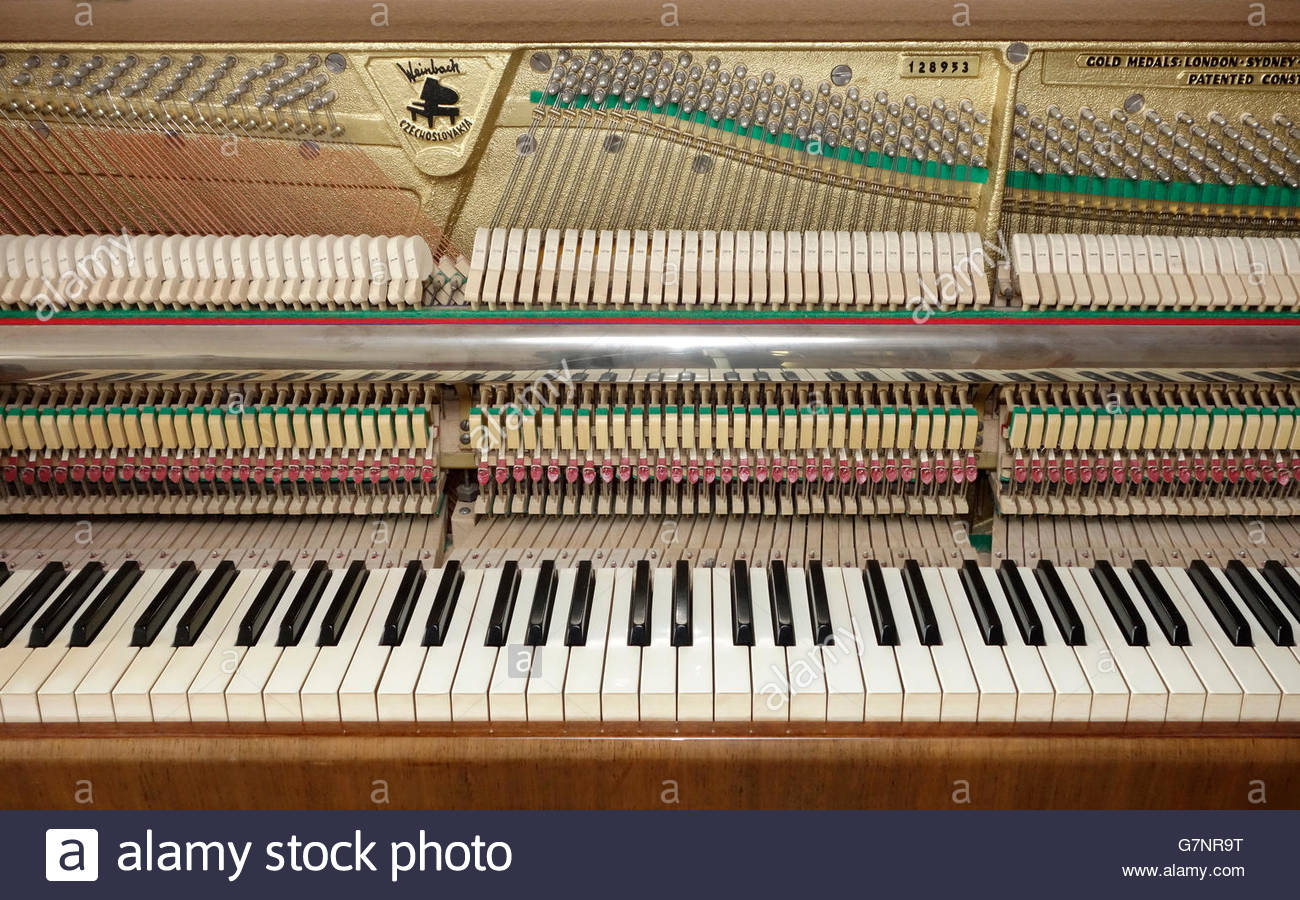 Stock Photo - Upright piano stripped from upper front doors and fall showing keyboard and action mechanism & Upright piano stripped from upper front doors and fall showing ... pezcame.com