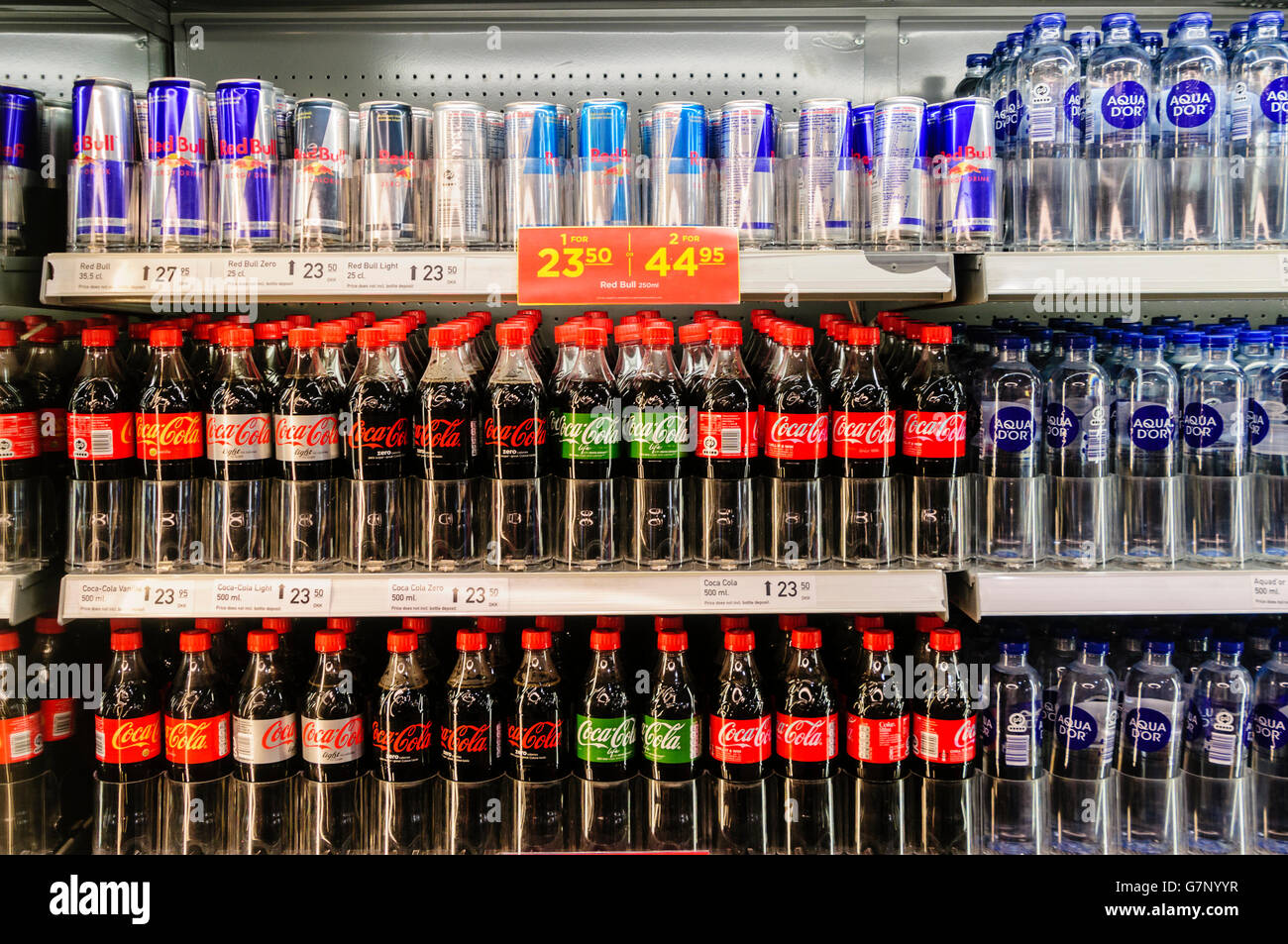 Coca Cola Fridge >> Coca cola (ordinary, diet/light/lite, and life) with Red Bull energy Stock Photo, Royalty Free ...