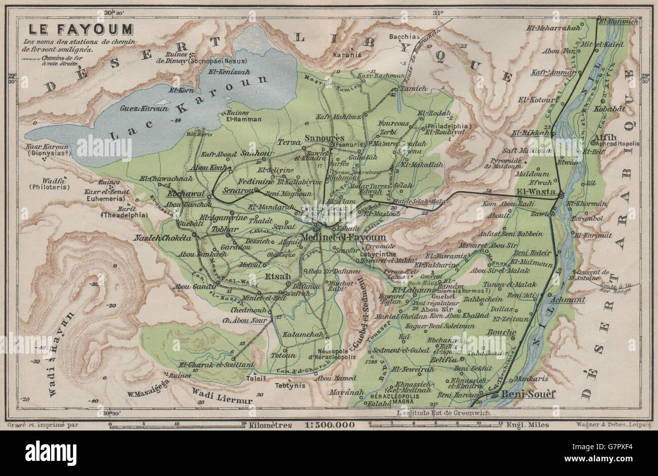 LE FAYOUM EL FAIYUM Environs Lake Qaroun Egypt BAEDEKER - Map of fayoum egypt