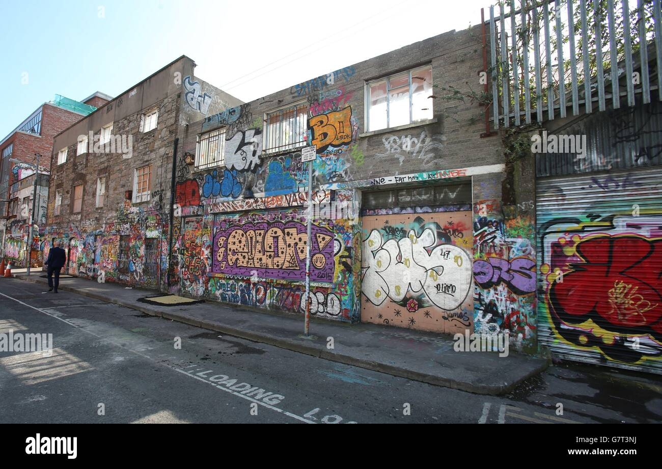 U2 graffiti wall location - Stock Photo U2 Recording Studio Demolished Dublin