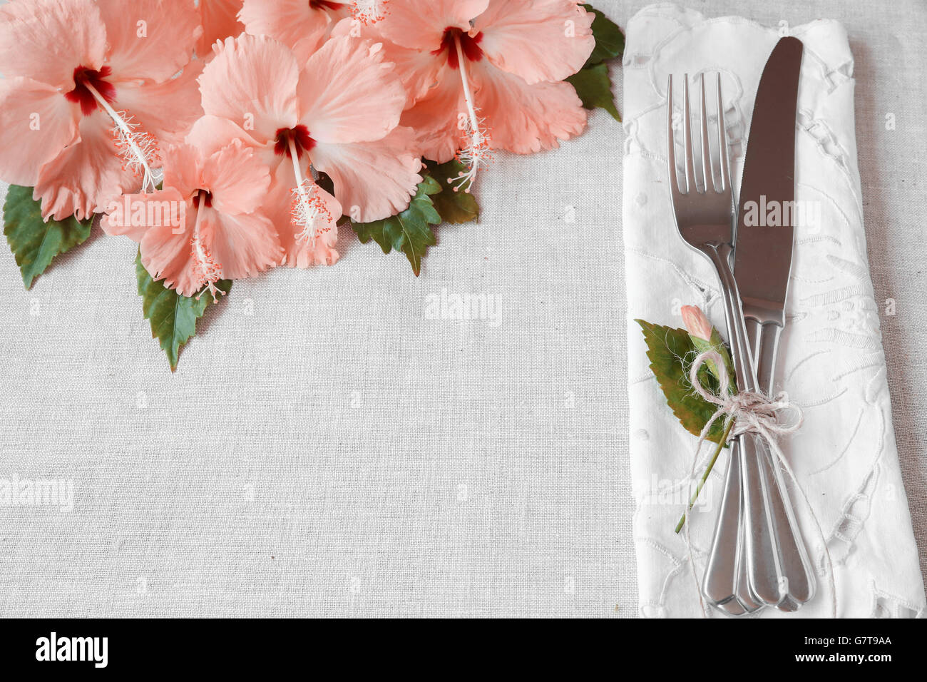 Table Setting Background pink hibiscus flowers table setting background, toning stock photo