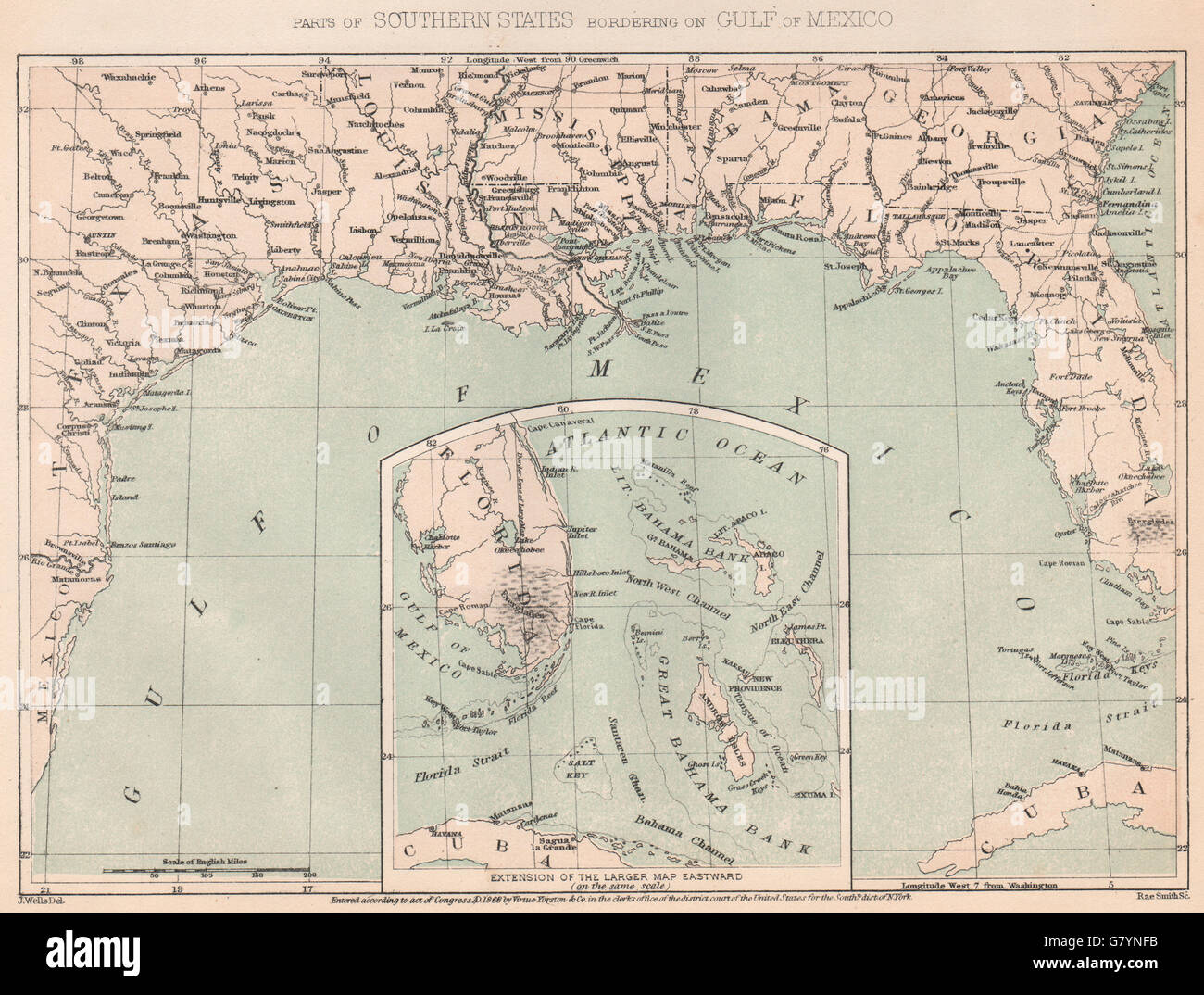 AMERICAN CIVIL WAR Deep SouthGulf of Mexico 1864 antique map