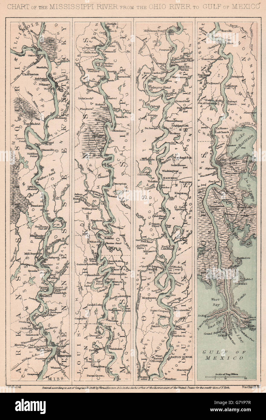 AMERICAN CIVIL WAR Mississippi River from the Ohio to Gulf of