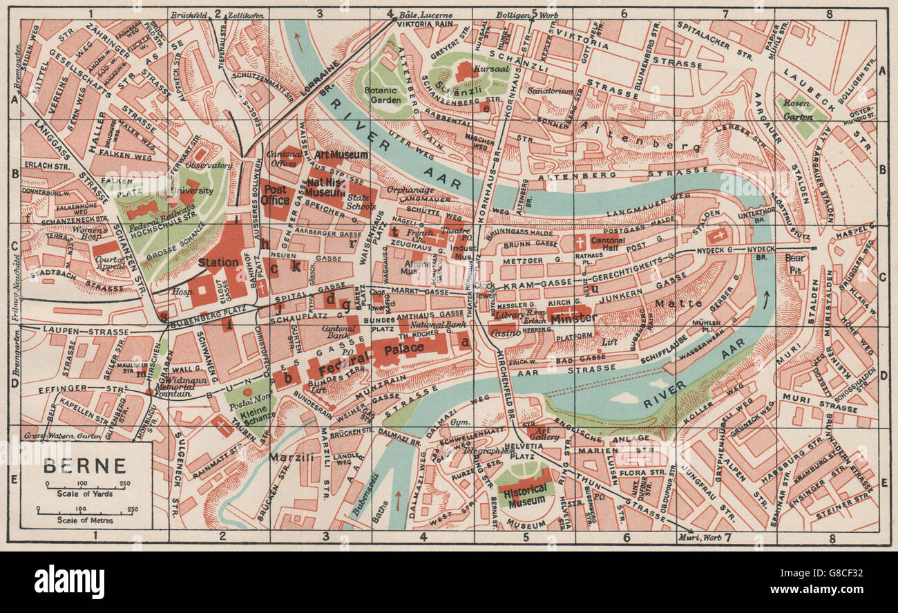 BERNE Vintage Town City Map Plan Switzerland Berne Stock - Lausanne city map