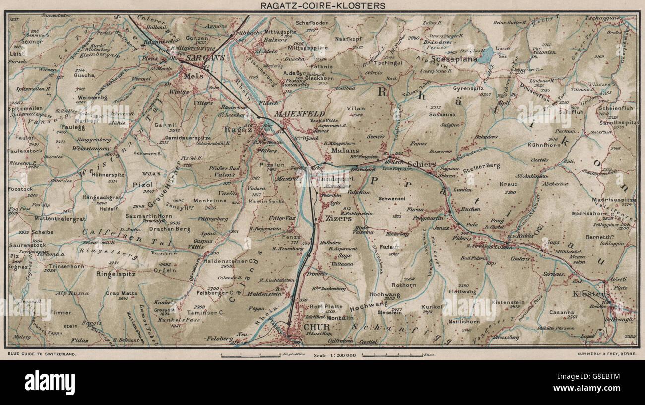 RAGATZCHURKLOSTERS Grusch Bad Ragaz Fideris Vintage map Stock