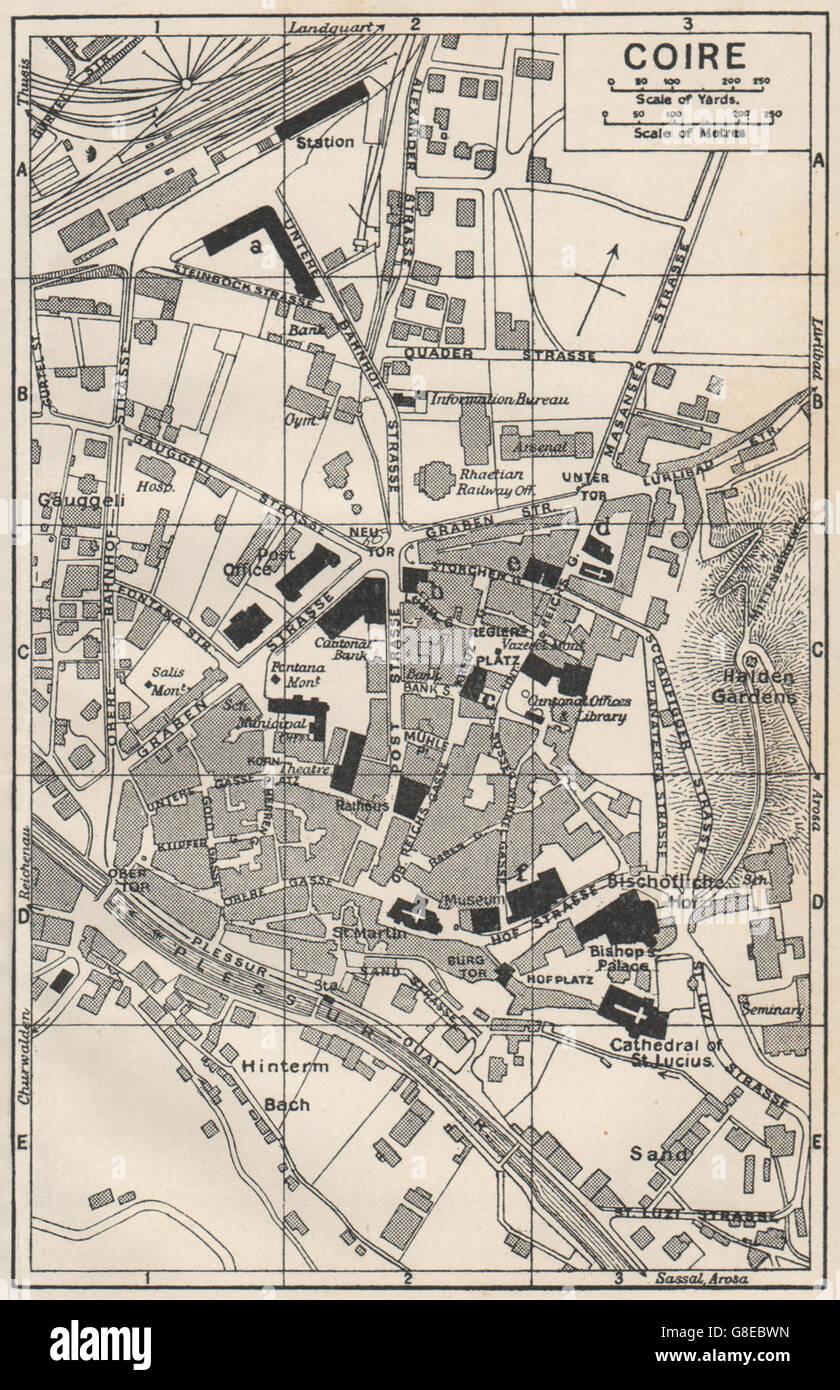 CHUR COIRE Vintage Town City Map Plan Switzerland Stock - Chur map
