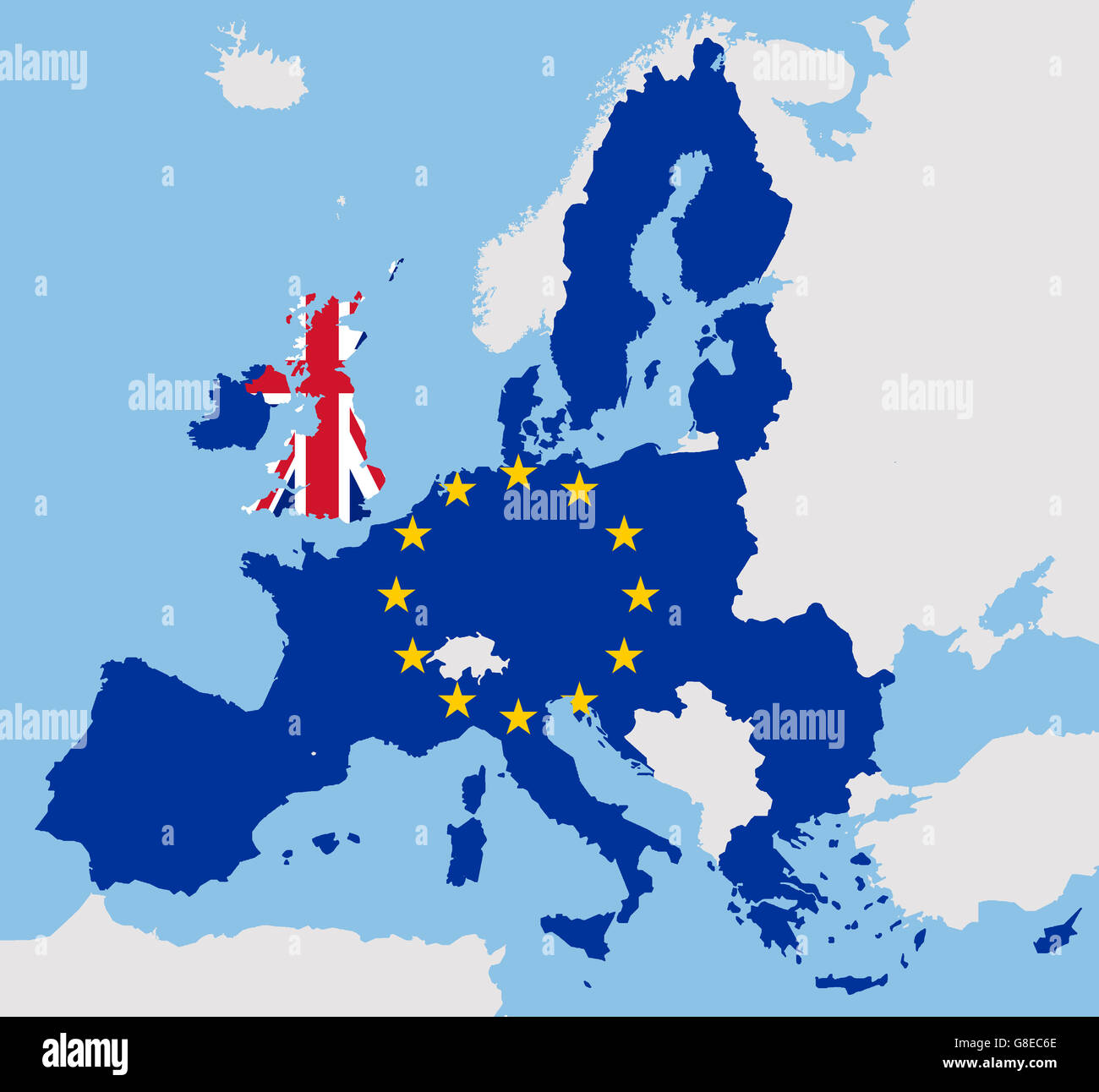 Brexit uk and eu map flags europe stock photo 108496374 alamy brexit uk and eu map flags europe gumiabroncs Choice Image