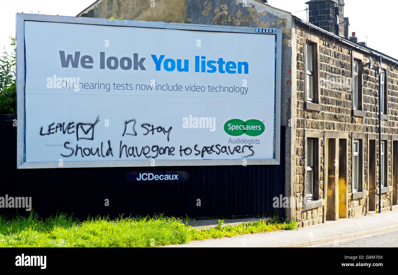 specsavers and advert stock photos specsavers and advert stock graffiti on specsavers advertising billboard showing referendum remorse england uk stock image