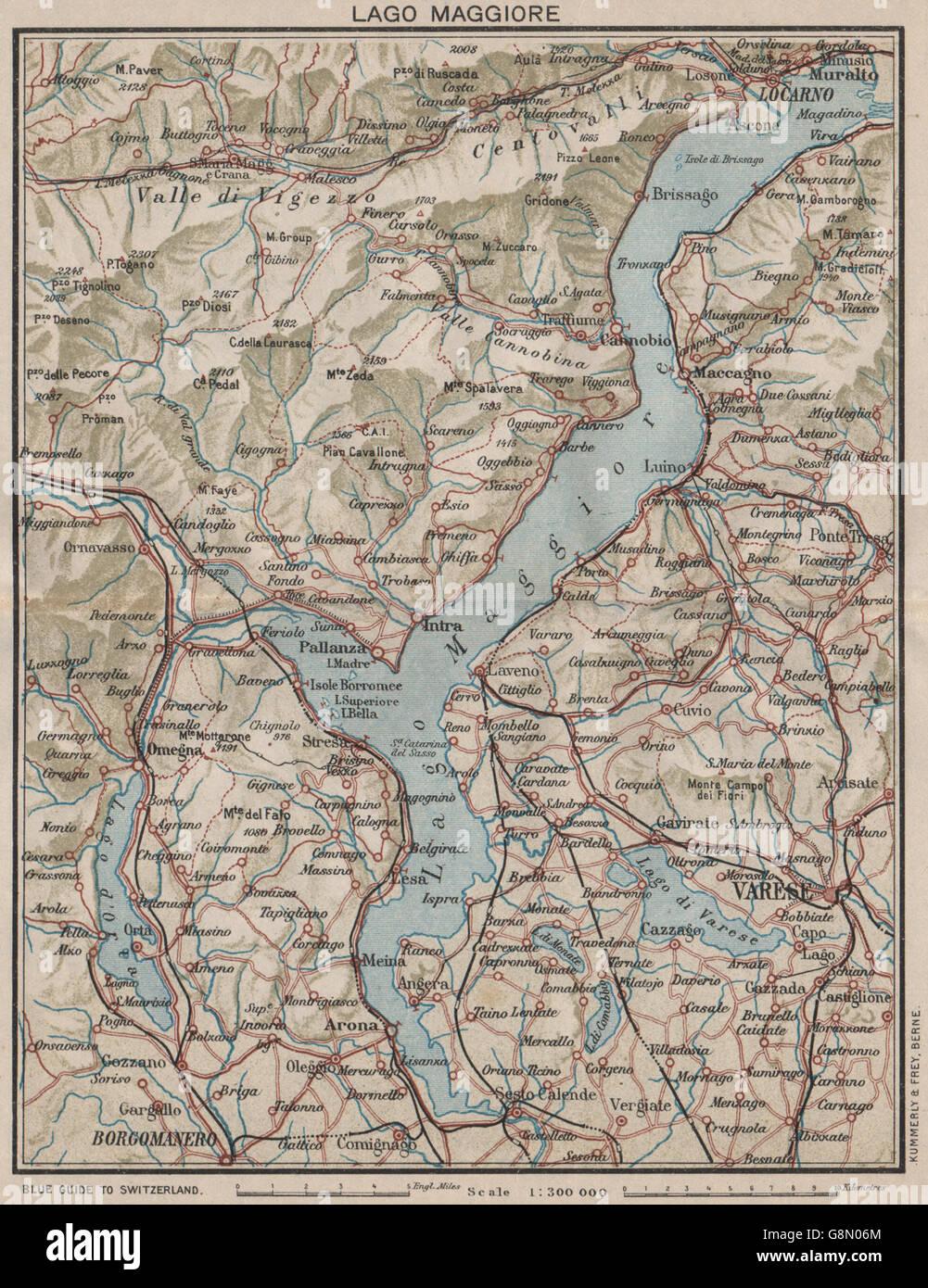 LAKE LAKE MAGGIORE Varese Locarno Arona Omegna Luino Vintage map