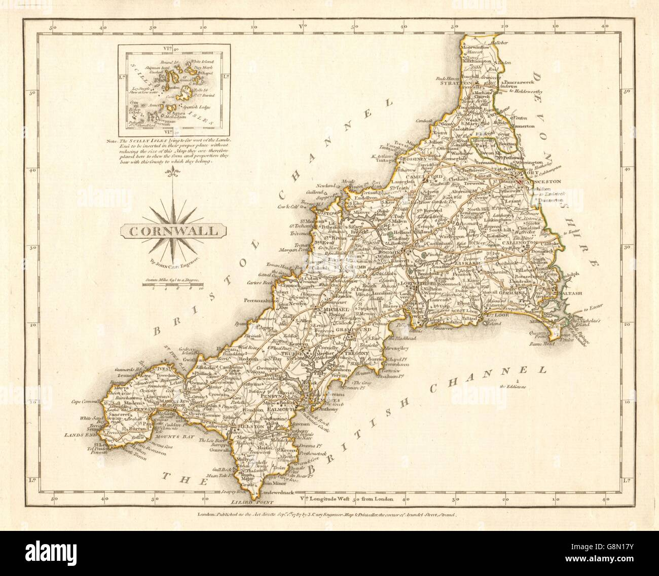 Antique county map of CORNWALL by JOHN CARY. Original outline ...
