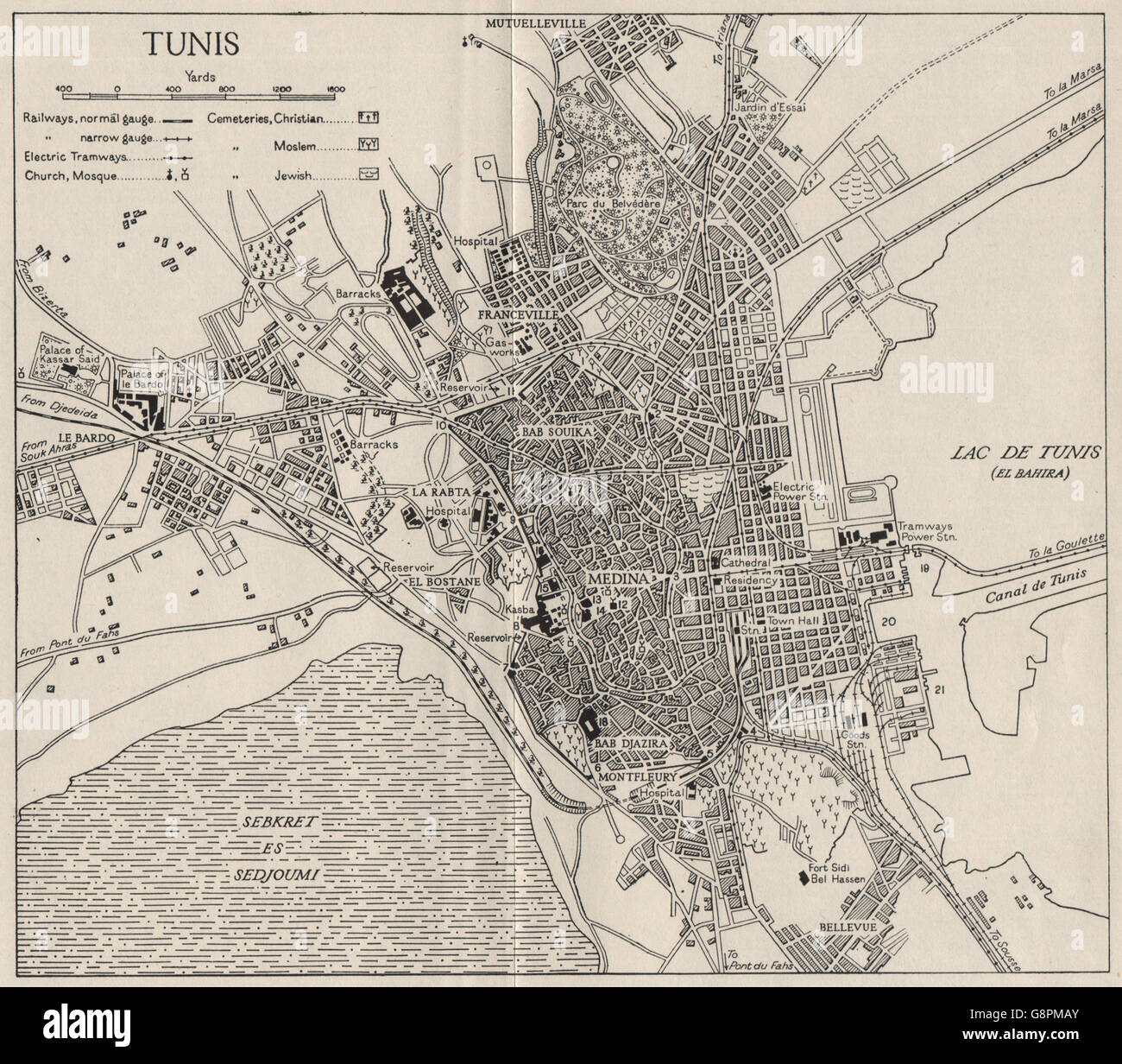 TUNIS: Town Plan. Tunisia. WW2 ROYAL NAVY INTELLIGENCE MAP
