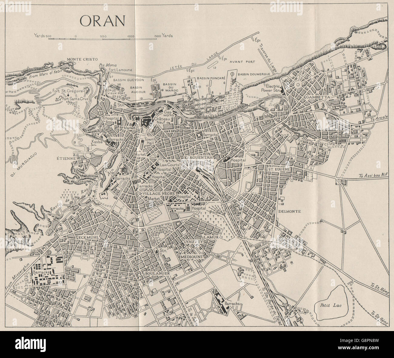 ORAN: Town Plan. Algeria. WW2 ROYAL NAVY INTELLIGENCE MAP