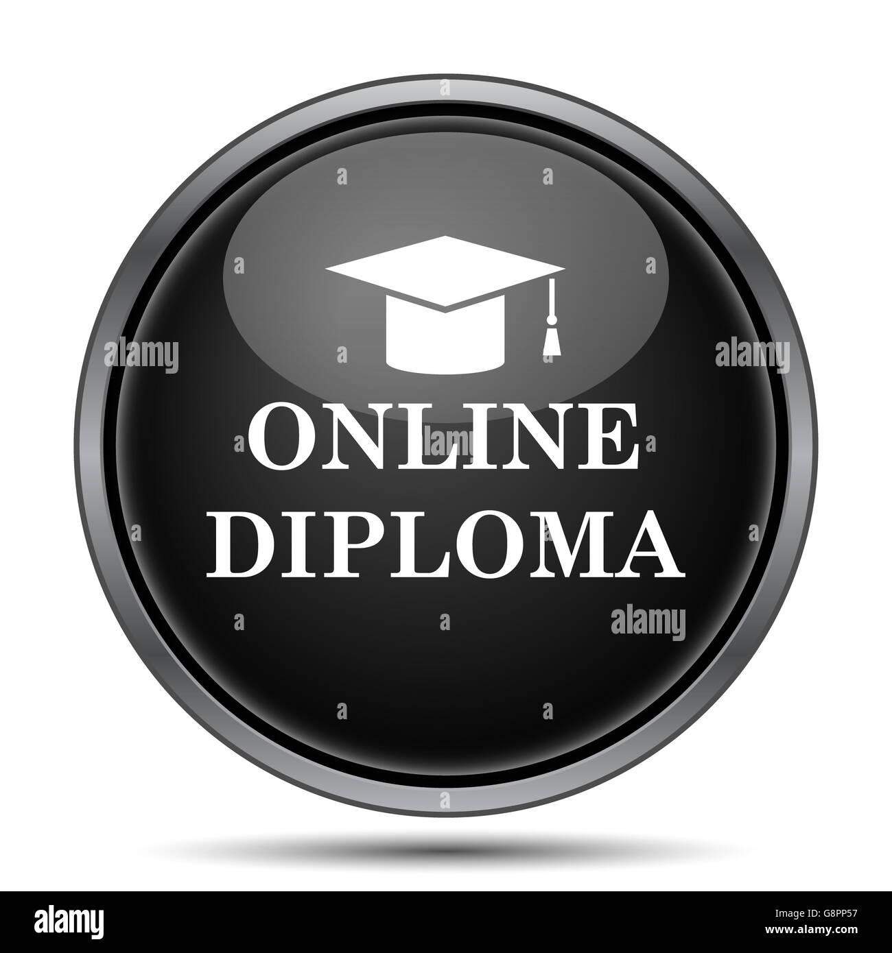 online diploma icon internet button on white background stock  online diploma icon internet button on white background