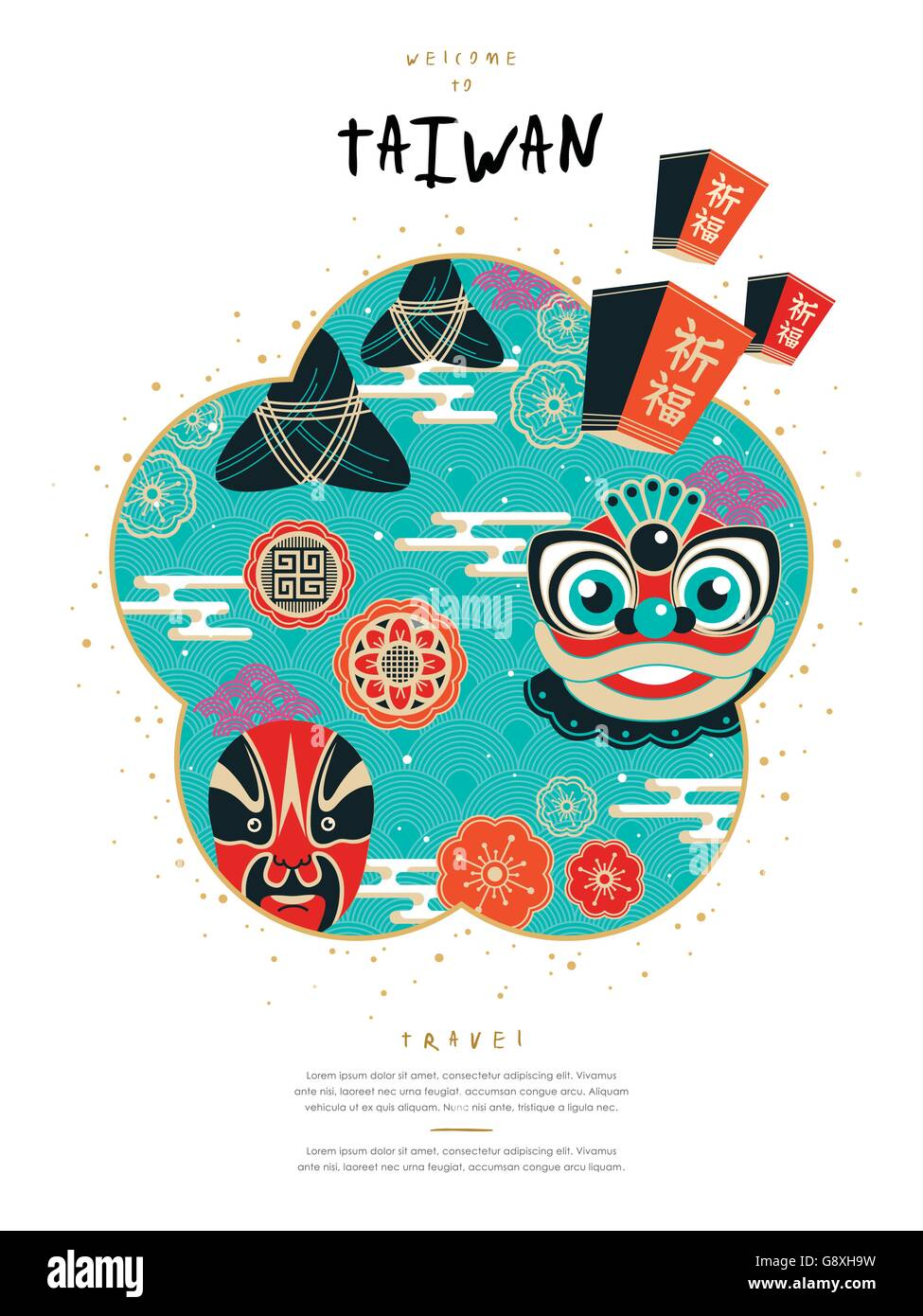 Poster design keywords - Stock Vector Lovely Taiwan Culture Poster Design With Famous Events And Symbol
