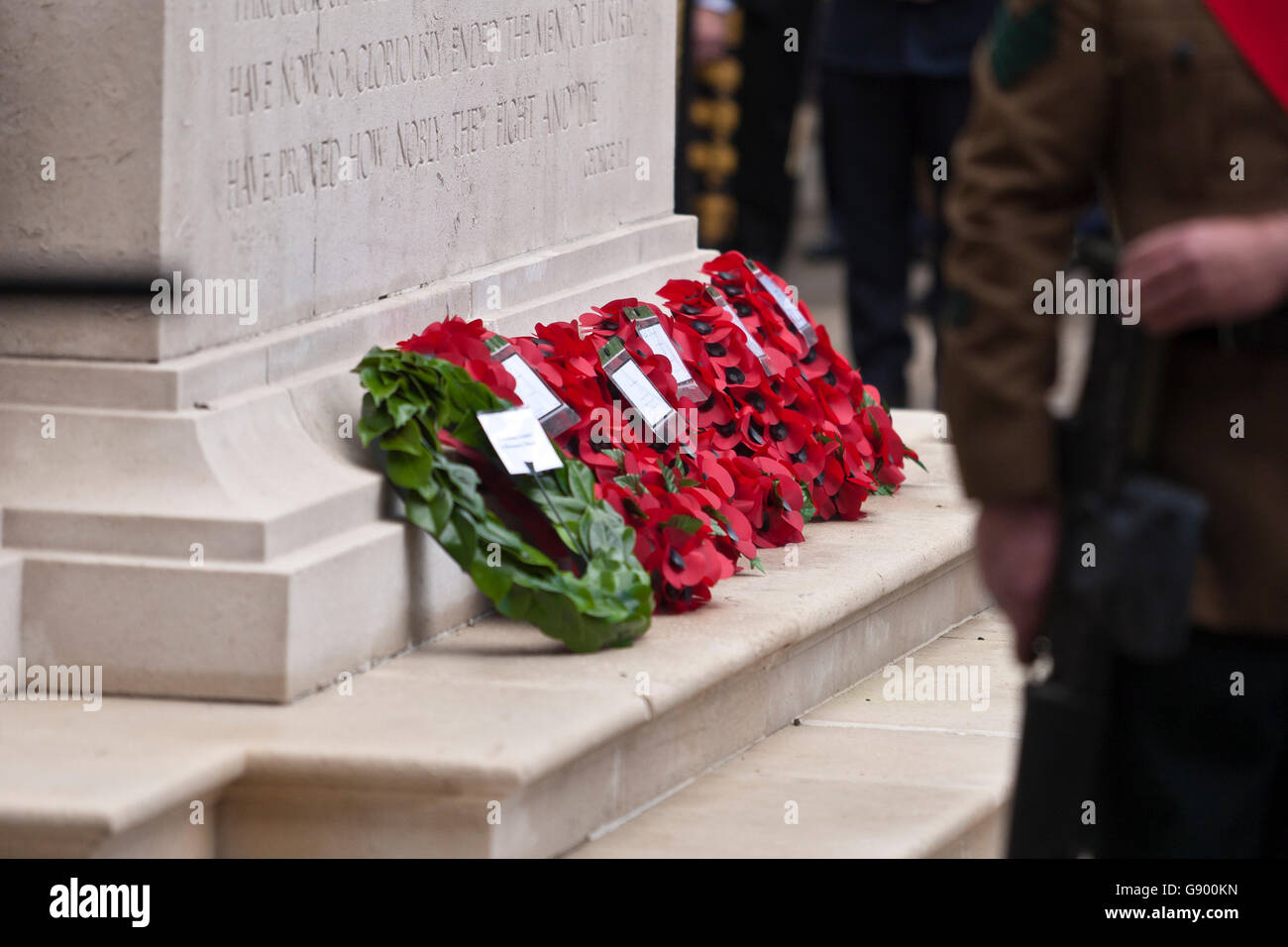 Of Wreaths Cenotaph Belfast Uk 1st July 2016 A Row Of Wreaths On The