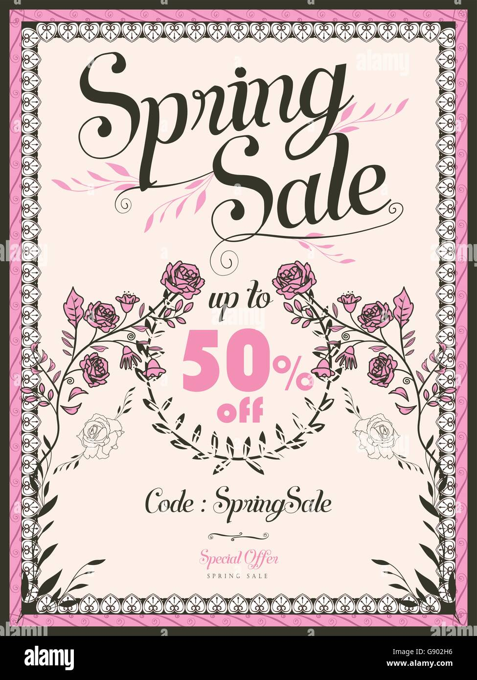 Retro Spring Sale Poster Template Design With Pink Roses  For Sale Poster Template