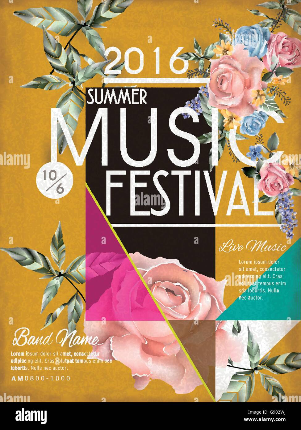 music festival poster template design with floral elements Stock ...