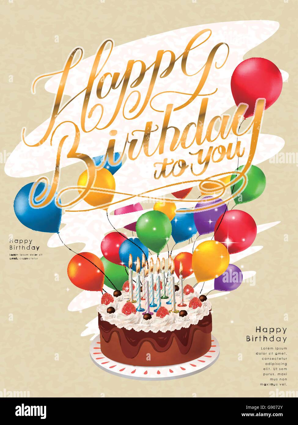B day poster designs - Happy Birthday Poster Template Design With Lovely Cake And Balloons