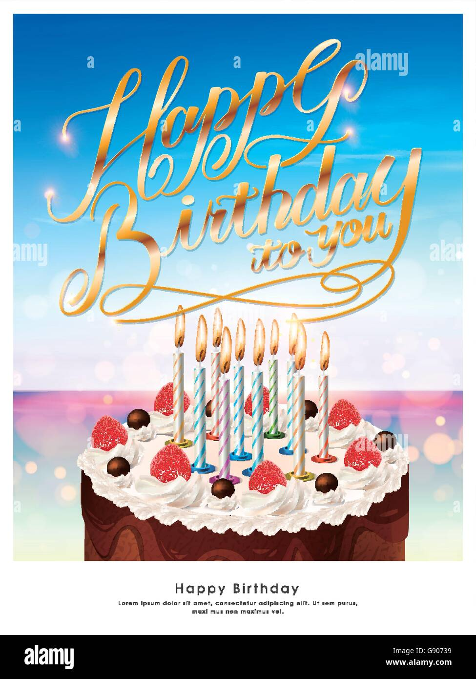 Happy birthday poster template design with delicious cake Stock ...