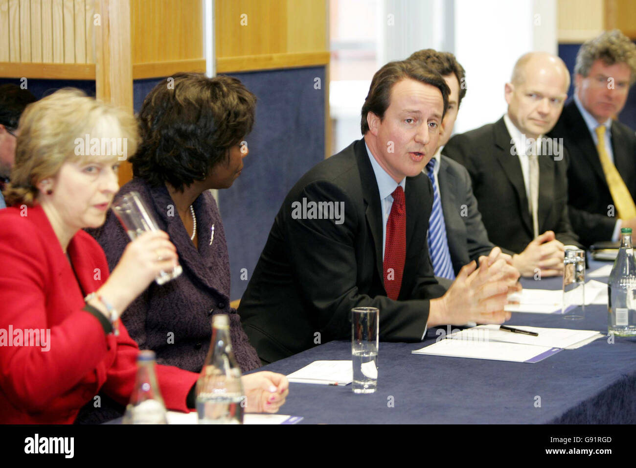Conservative leader David Cameron chairs his first shadow cabinet ...