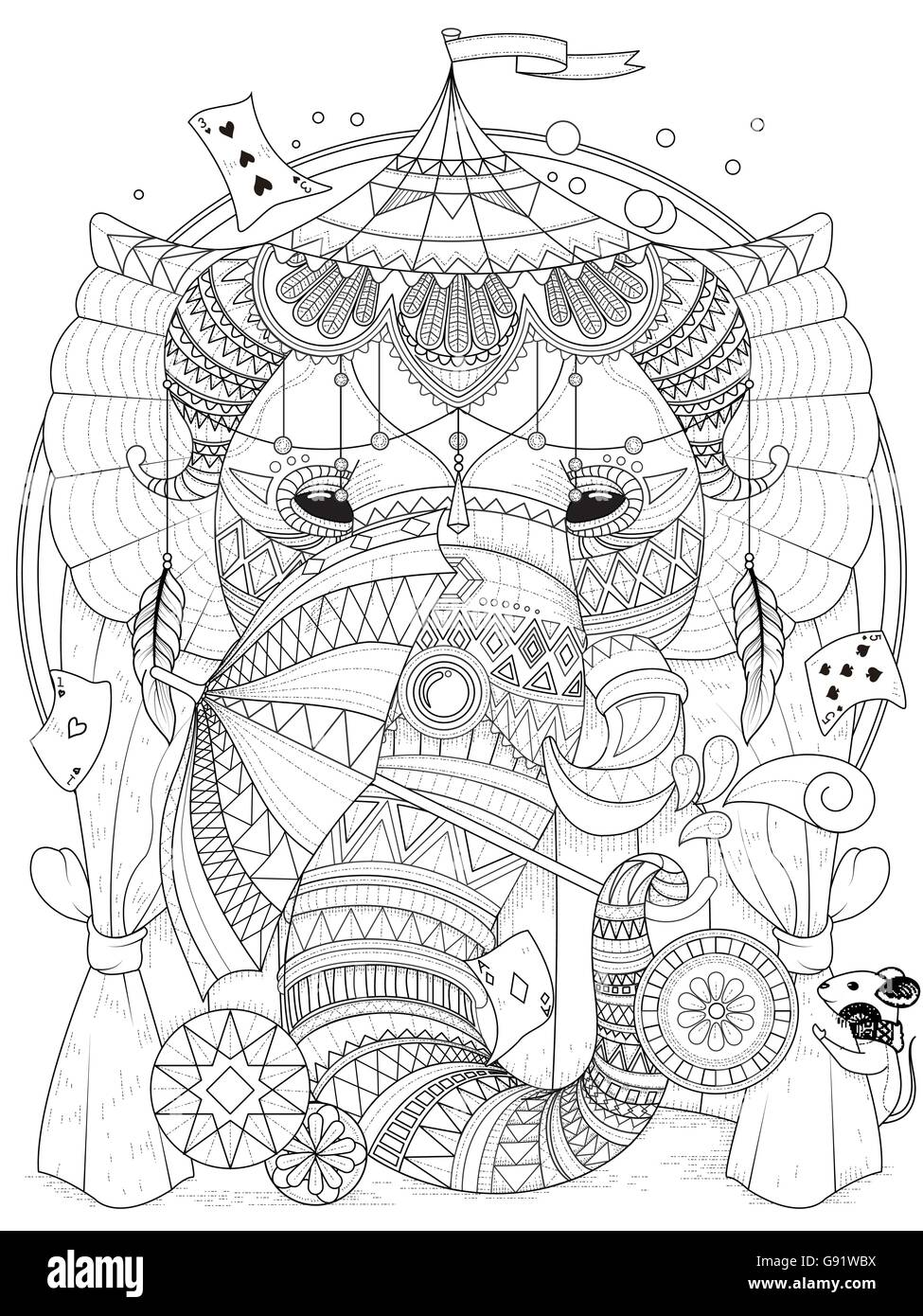 stock vector adult coloring page elephant in the circus with magic props - Coloring Page Elephant Design