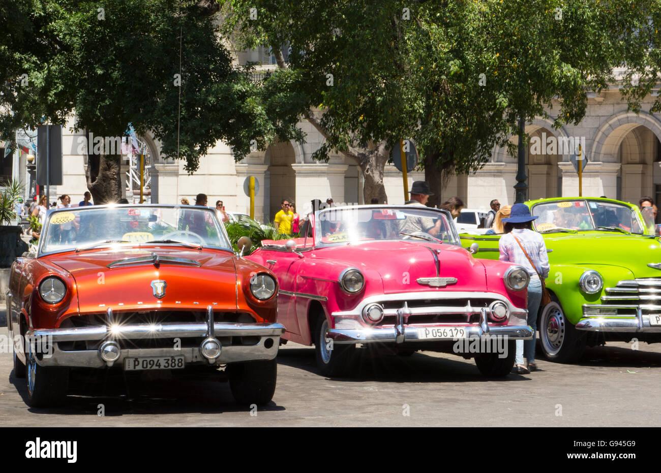 Havana Cuba Habana central colorful old classic 1950\'s cars on Stock ...