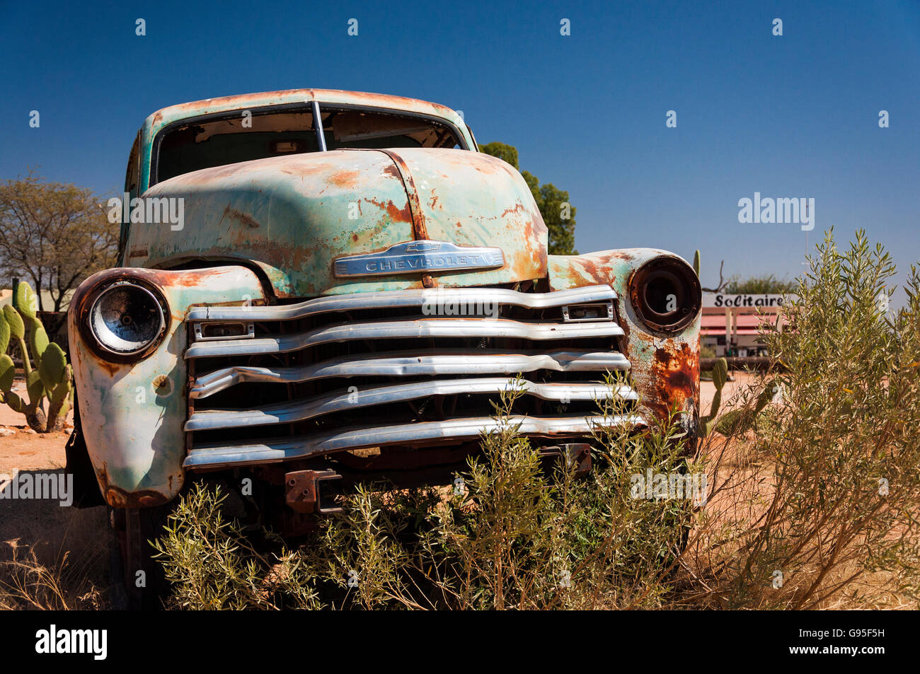 An old rusty car in Solitaire, Namibia Stock Photo, Royalty Free ...