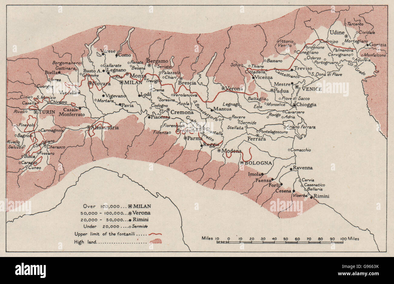 ITALY Northern Plain Towns Po River Valley Basin WW RN Stock - Po river world map