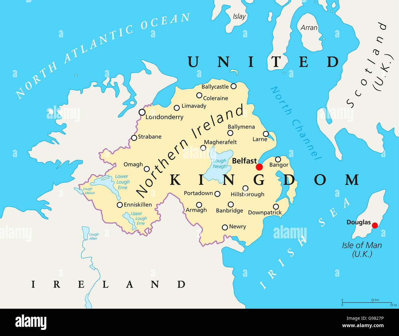 Northern Ireland Political Map With Capital Belfast National - Map ng united kingdom