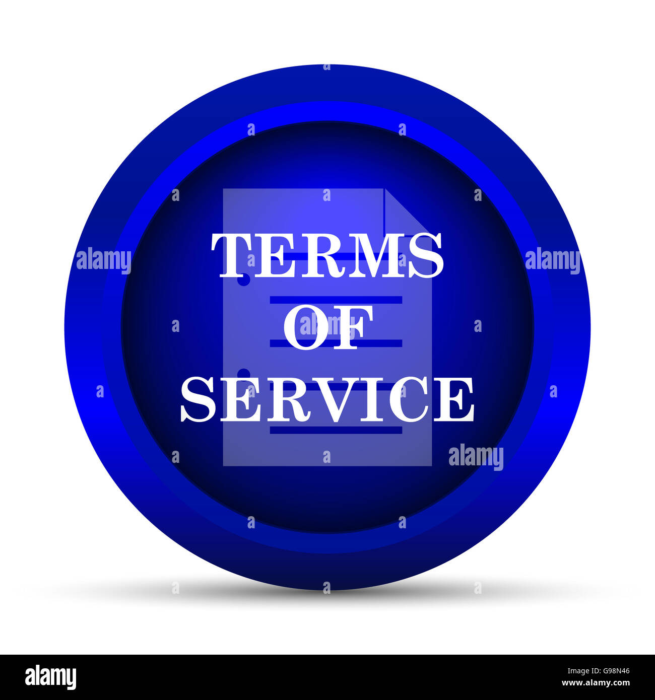 Stock photo terms of service icon internet button on white background