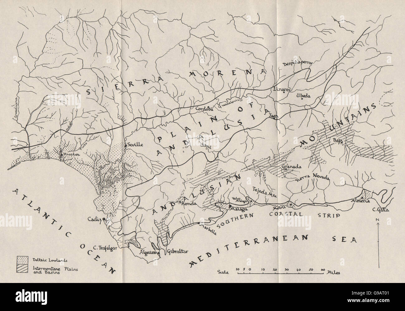 ANDALUSIA PHYSICALSouthern Spain landformsWW2 ROYAL NAVY Stock