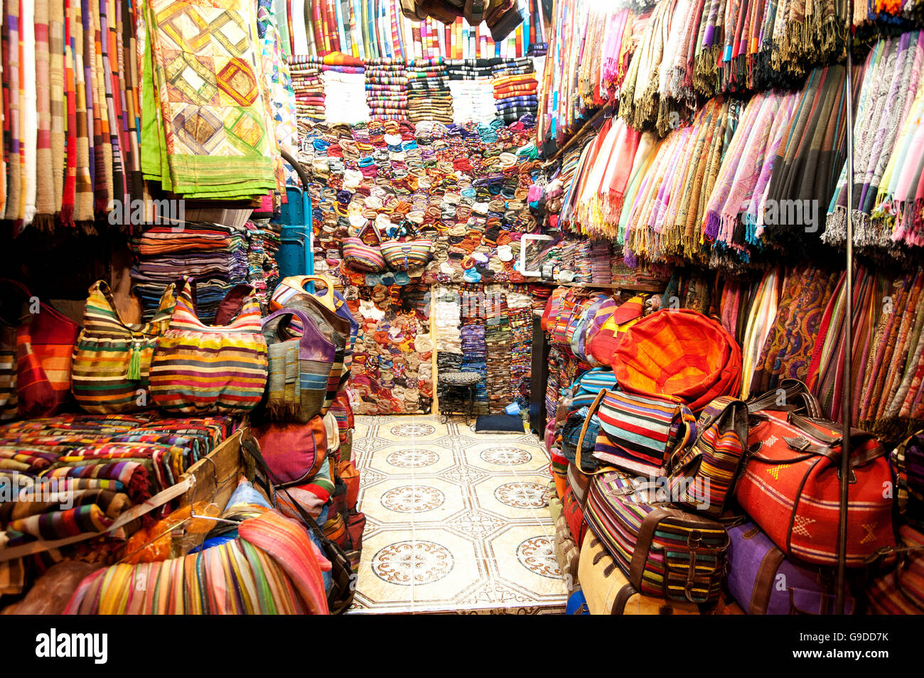 bag and blanket shop in the souks or markets marrakech