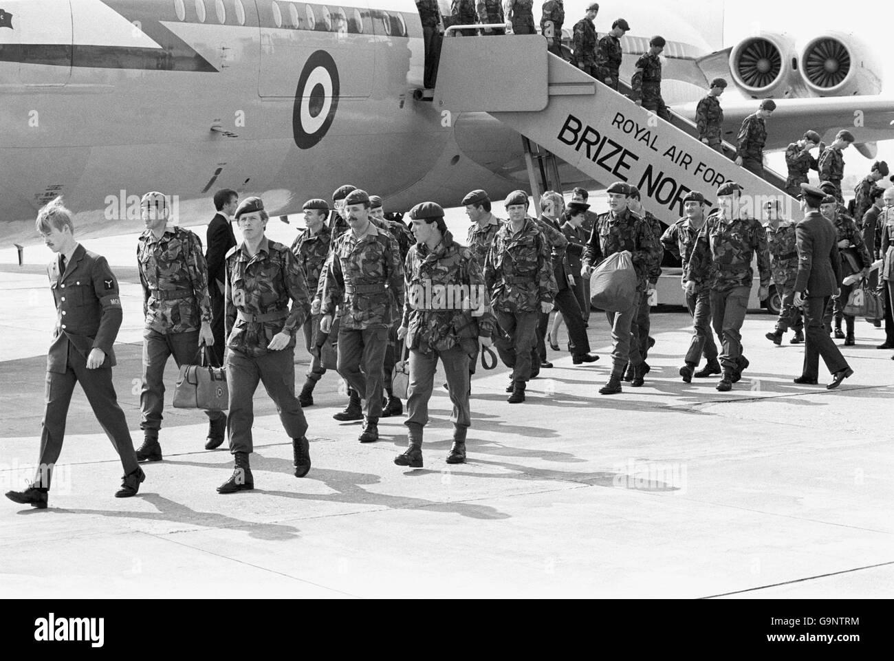 Falklands war 1st battalion welsh guards stock image