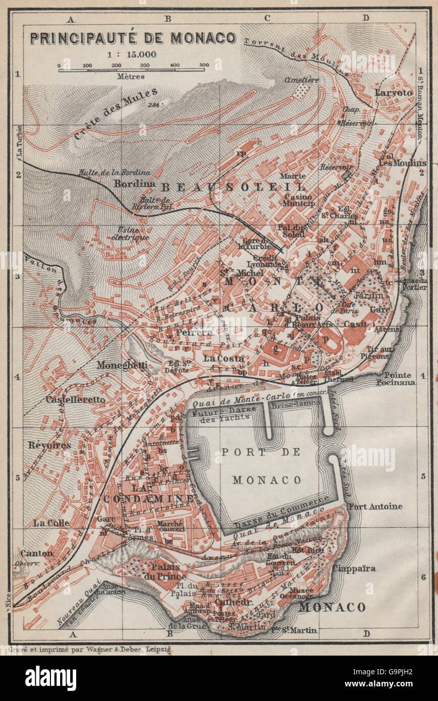 MONACO MONTE CARLO town city plan La Condamine Beausoleil Stock