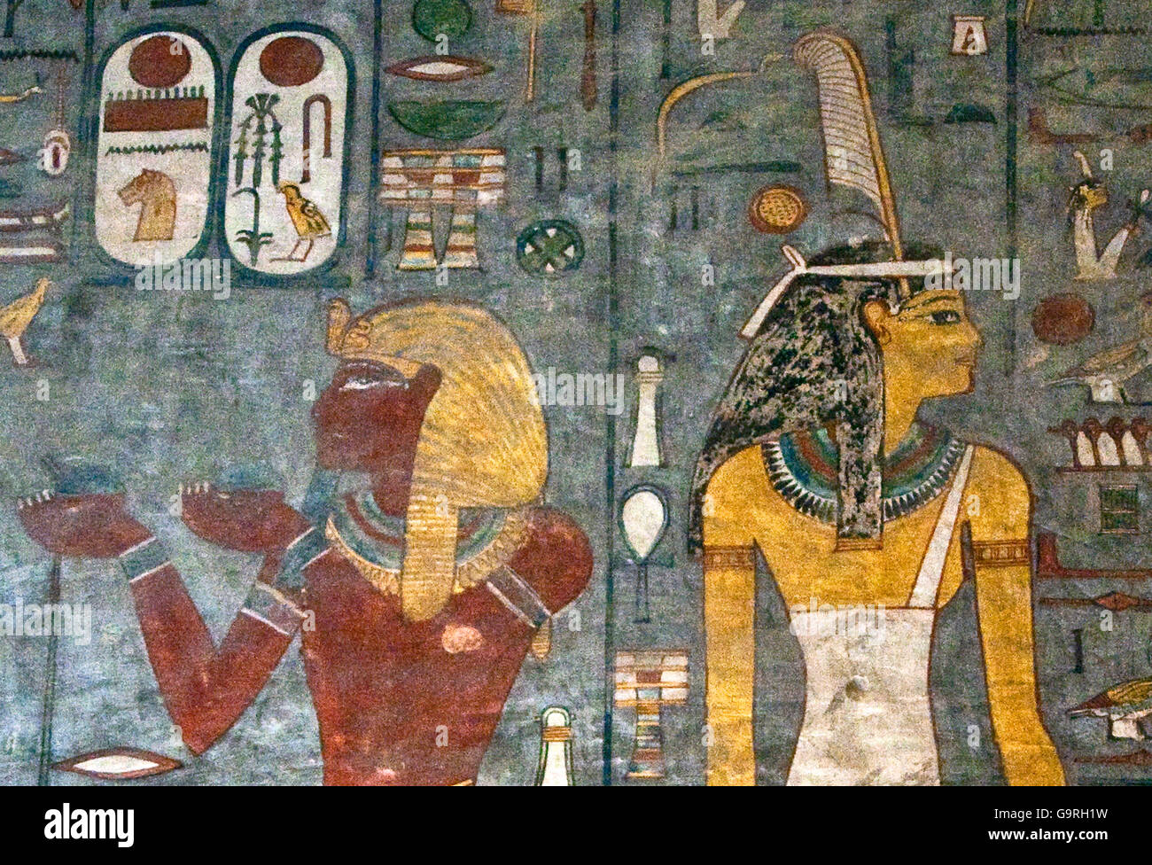 Mural painting pharao pharaohs queen tomb of ramses i for Egyptian mural art