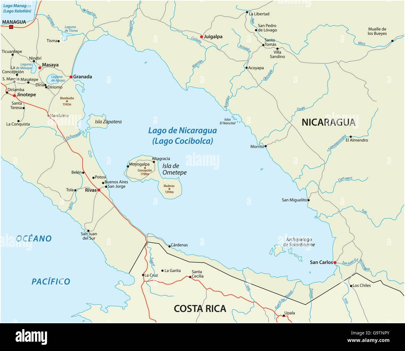 Nicaragua Map Stock Photos Nicaragua Map Stock Images Alamy - Map of nicaragua