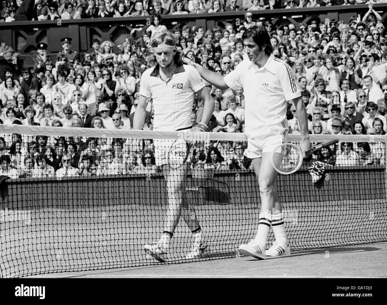 Tennis Wimbledon Championships 1977 Ilie Nastase v Bjorn Borg